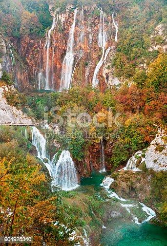 Autumn view of Great Waterfall (Veliki slap) in Plitvice Lakes, Croatia