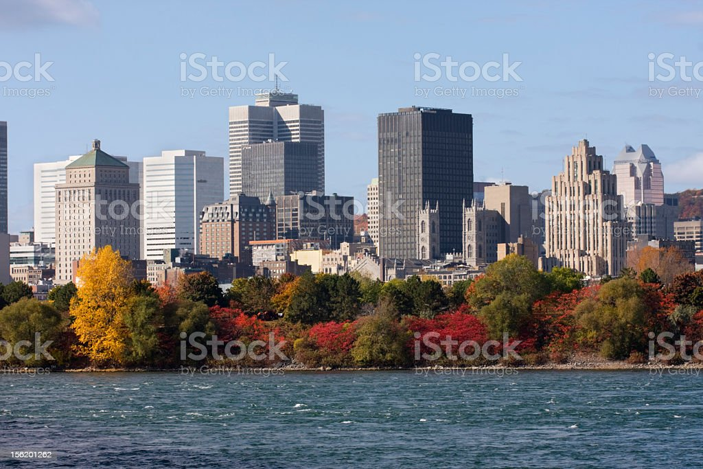 Autumn view of Montreal skyline with Saint Lawrence River stock photo