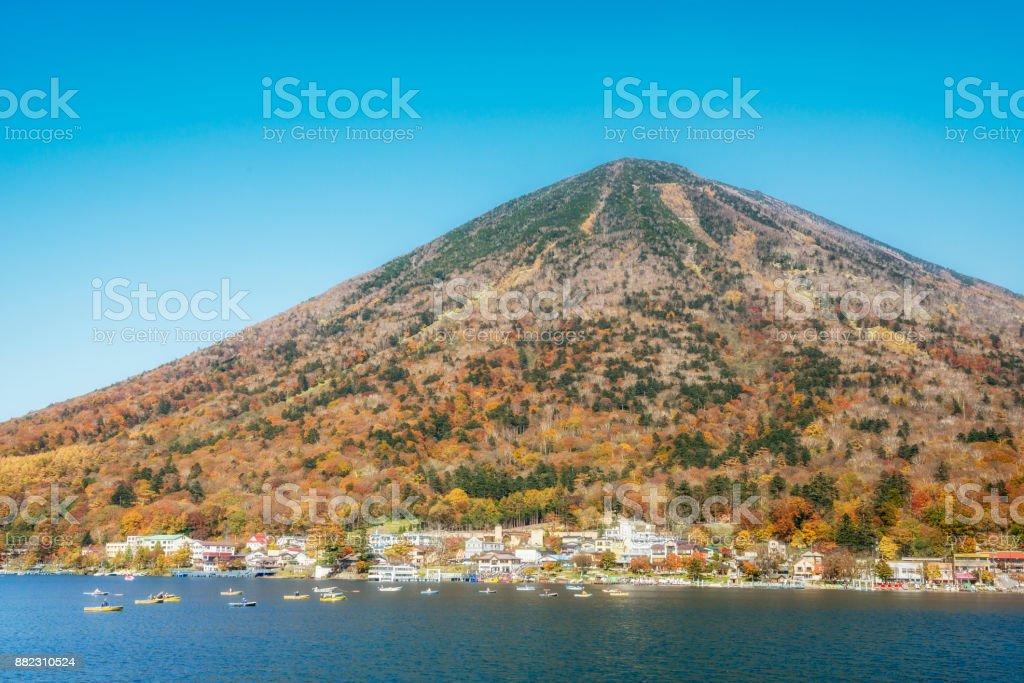 Autumn view of Mt. Nantai Nikko National Park, Japan stock photo
