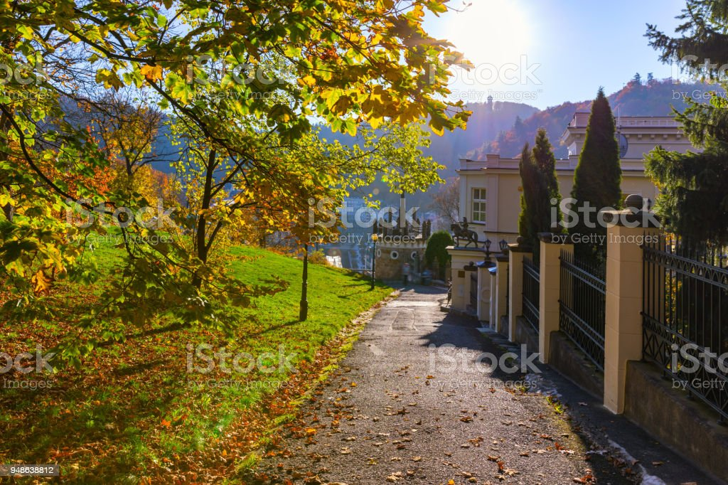 Autumn view of old town of Karlovy Vary (Carlsbad), Czech Republic, Europe stock photo