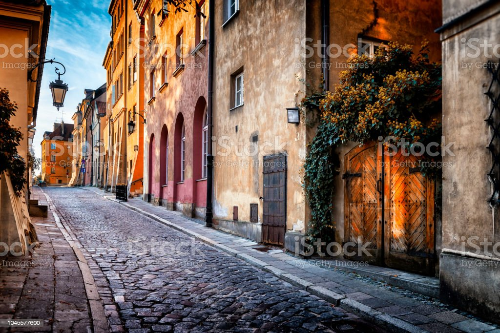 Autumn view of the birch street in the morning in Warsaw's Old Town, Poland - Royalty-free Apartment Stock Photo