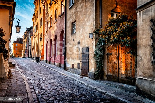 Autumn view of the birch street in the morning in Warsaw's Old Town, Poland
