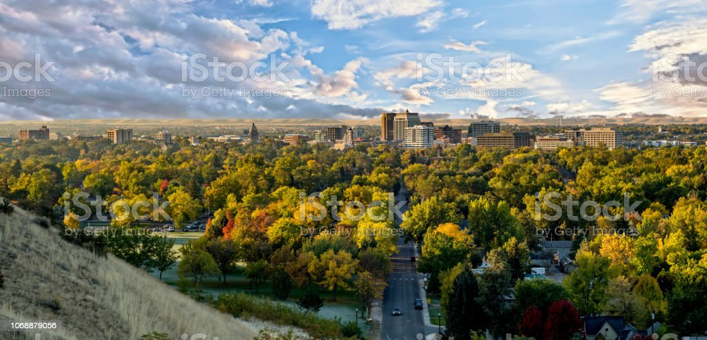 Autumn view of the city of trees Boise Idaho with cloudy sky Colorful fall trees and the skyline of Boise Idaho Autumn Stock Photo