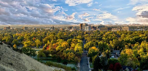 Autumn View Of The City Of Trees Boise Idaho With Cloudy Sky Stock Photo - Download Image Now