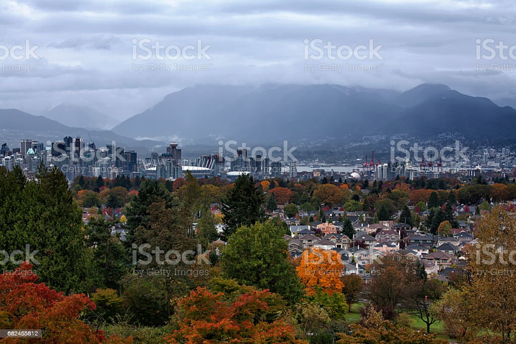 Autumn view of Vancouver cityscape in a rainy afternoon, Canada royalty-free stock photo