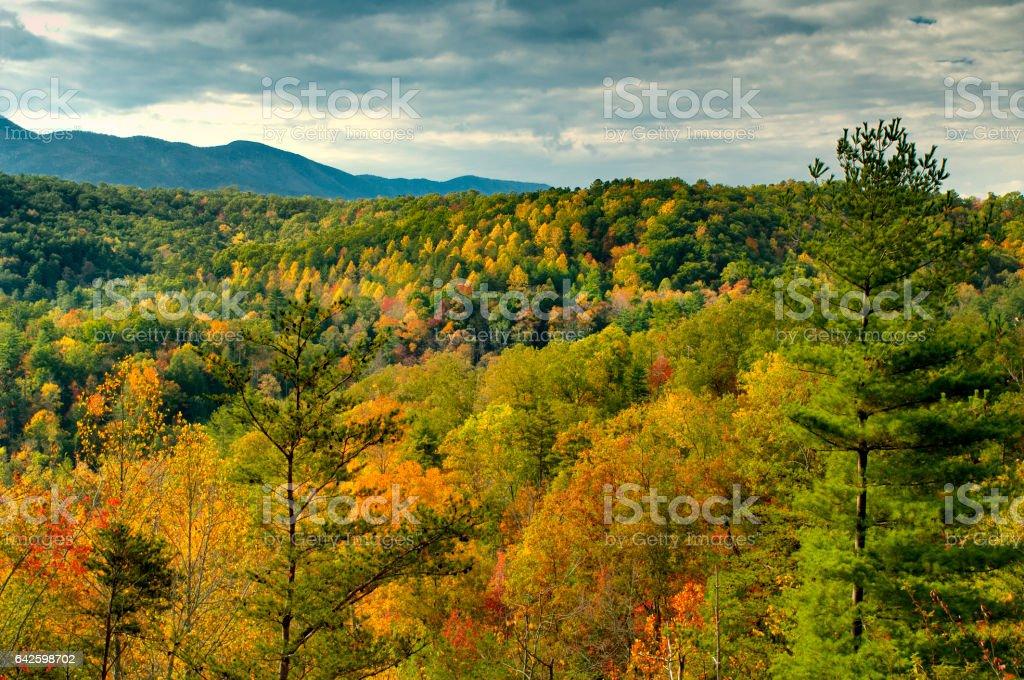 Autumn view on Cherohala Skyway in North Carolina, USA stock photo