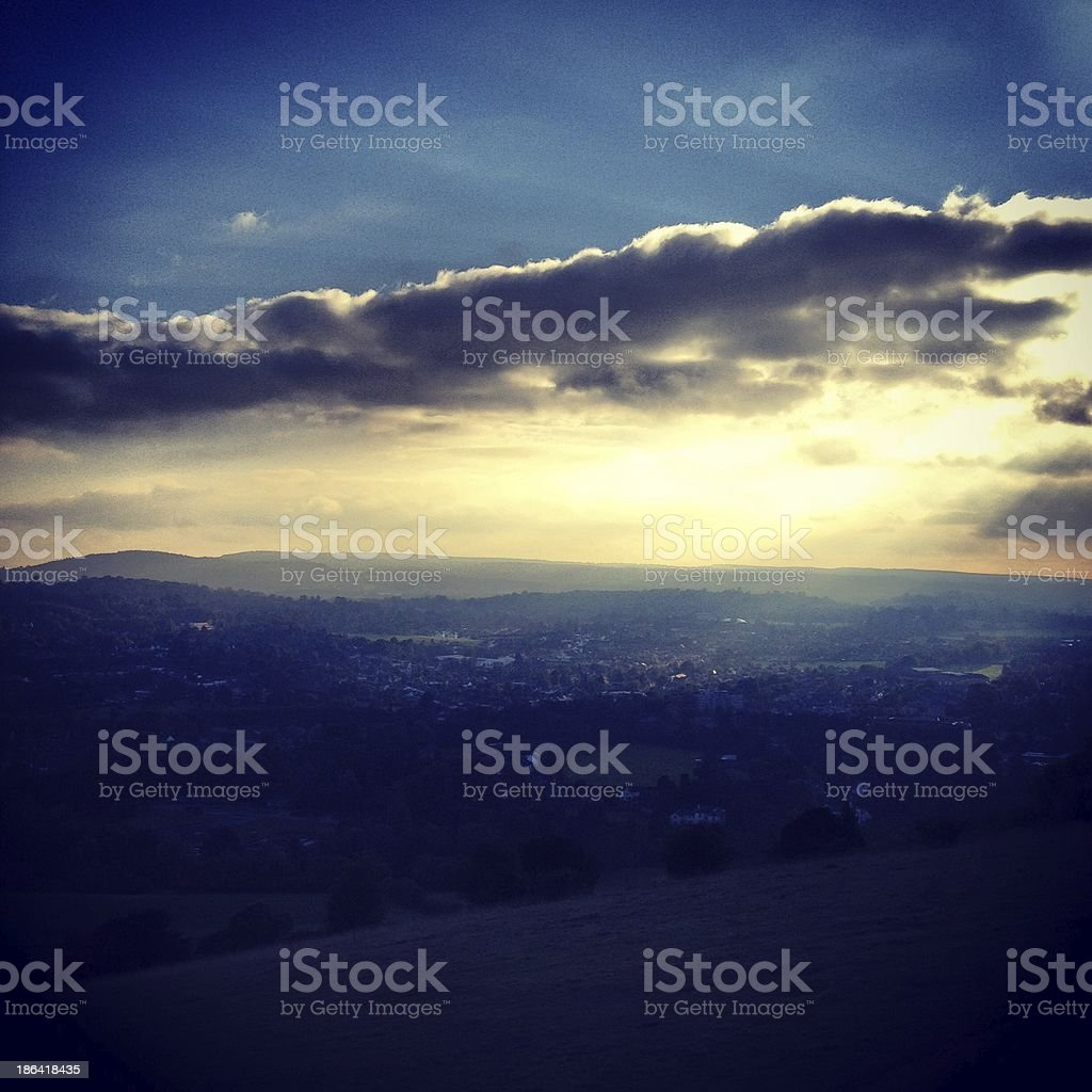 Autumn view over Dorking from Boxhill in Surrey, UK stock photo