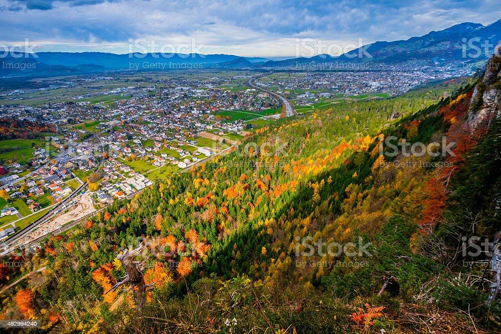 Autumn View Over Feldkirch stock photo