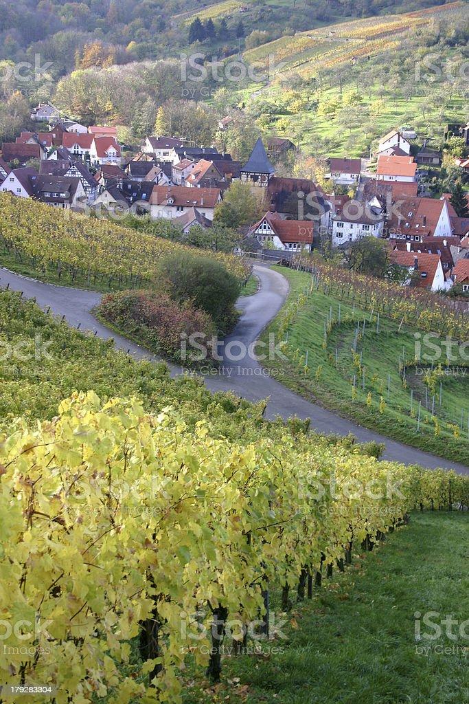 Autumn view over german wine village - 4 stock photo