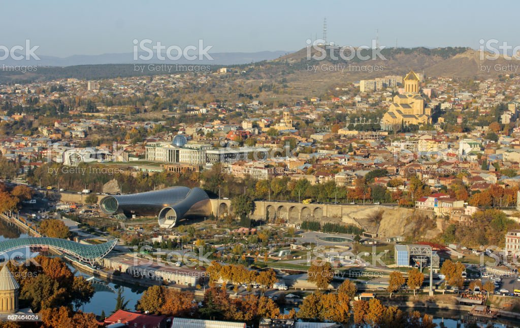 Autumn view to historical part Old City of the capital of Republic of Georgia. stock photo