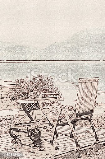 Autumn Vintage Scene Fall View Atmosphere Landscape Lake Bled Slovenia Wooden Chair Table Retro Style Sepia Toned Stippling Effect Beige Brown Background Copy Space Photography with Stipple Effect