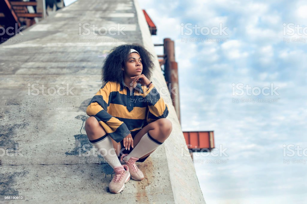 autumn walk with a dark skinned girl stock photo