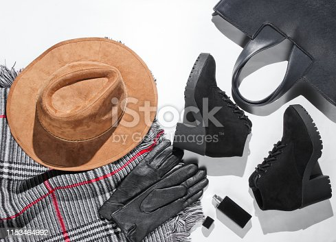 840310962istockphoto Autumn wardrobe. Women's things, shoes and accessories on a white background. Felt hat, suede shoes,bag, leather gloves, bottle of perfume, scarf. Flat lay 1153464992