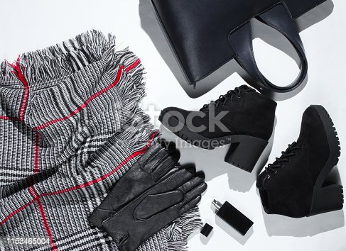 840310962istockphoto Autumn wardrobe. Women's things, shoes and accessories on a white background. Suede shoes, bag, leather gloves, bottle of perfume. Flat lay 1153465004