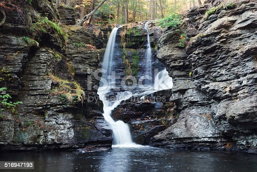 Waterfall with trees and rocks in mountain in Autumn. From Fulmer Falls Pennsylvania Dingmans Falls.