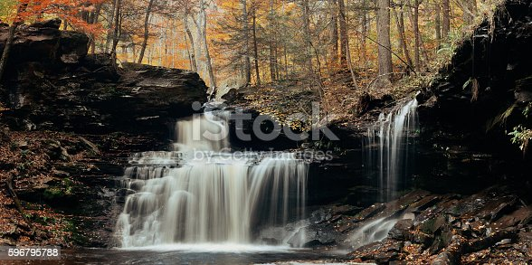 Autumn waterfalls panorama in park with colorful foliage.