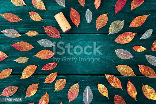 Autumn wine tasting invitation. Vibrant fall leaves on a dark wooden background, a flat lay design template for a winetasting banner or a restaurant menu, with copyspace