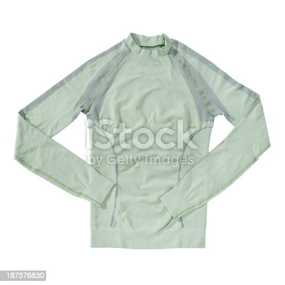 Autumn or winter breathable unisex sport active thermal first layer underwear in light green color, isolated on white background.