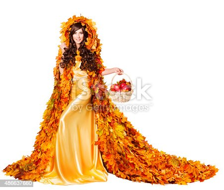 istock Autumn Woman Fall Leaves Cape Apples, Model Girl Fashion Dress 486637660