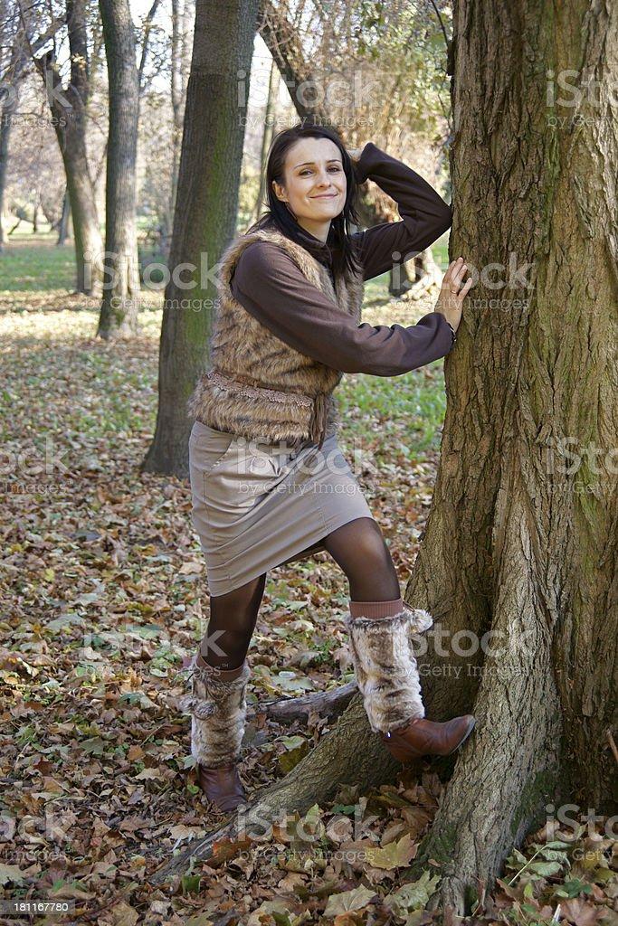 Autumn woman wearing leg warmers royalty-free stock photo