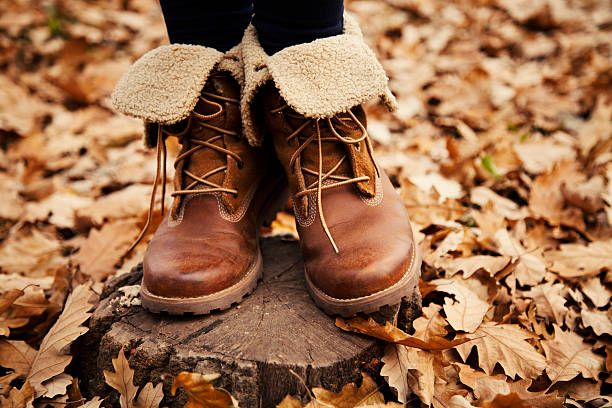 autumn women shoes a pair of seasonal women shoes standing in the leaves field boot stock pictures, royalty-free photos & images
