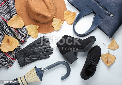 840310962istockphoto Autumn women's accessories whith fallen leaves. Leather gloves,scarf, felt hat, umbrella, boots on a white background. Top view. 1153466094
