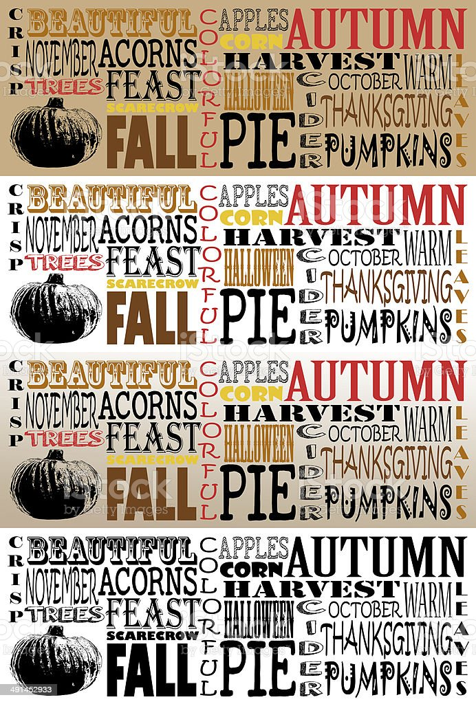 Autumn Word Art Collection-Facebook Timelines - Set of 4 stock photo