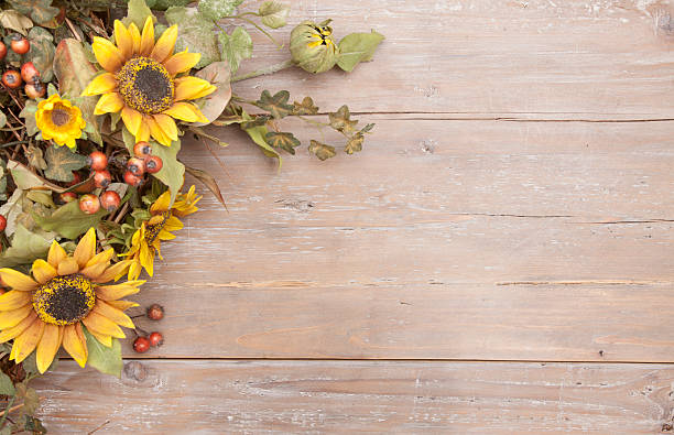 Autumn Wreath On Distressed Background Stock Photo Sunflower
