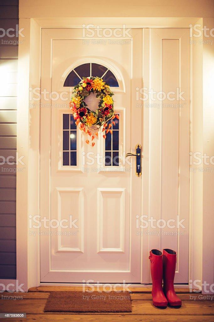 Autumn wreath on door. stock photo