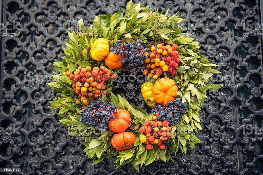 Autumn wreath on the door, Bruges, Belgium stock photo