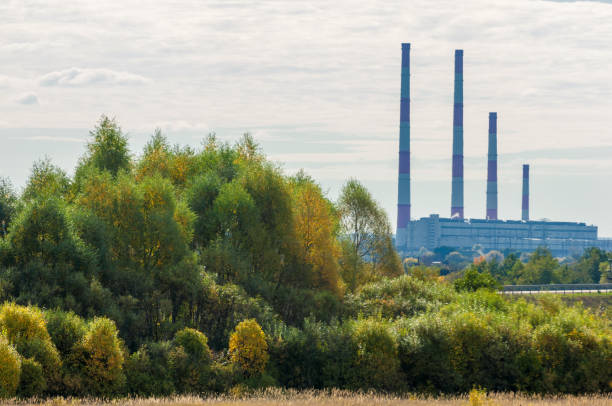 autumn yellow trees chp combined heat and power, - cogeneration plant stock photos and pictures
