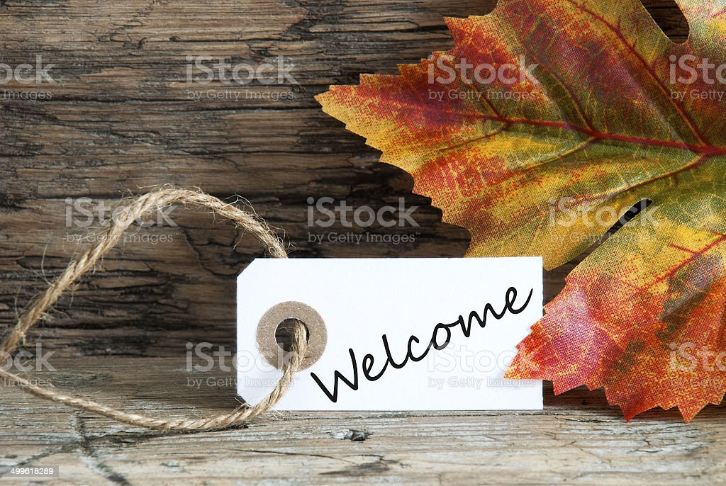 Autumnal Background with Welcome stock photo