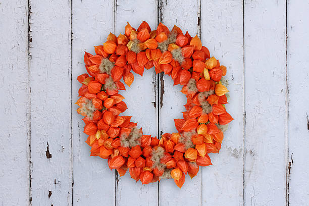 Autumnal Decoration Wreath with Physalis and Withywind on grunge background – Foto