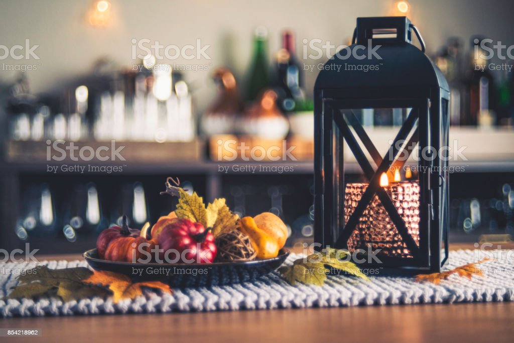 Autumnal decorations for the fall holidays stock photo