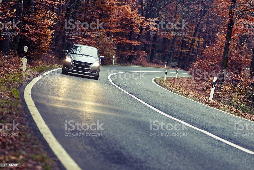 Herbstliche Wald Straße in der Abenddämmerung – Foto