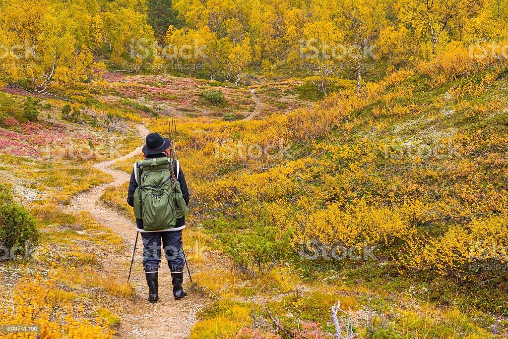 Autumnal hiker stock photo