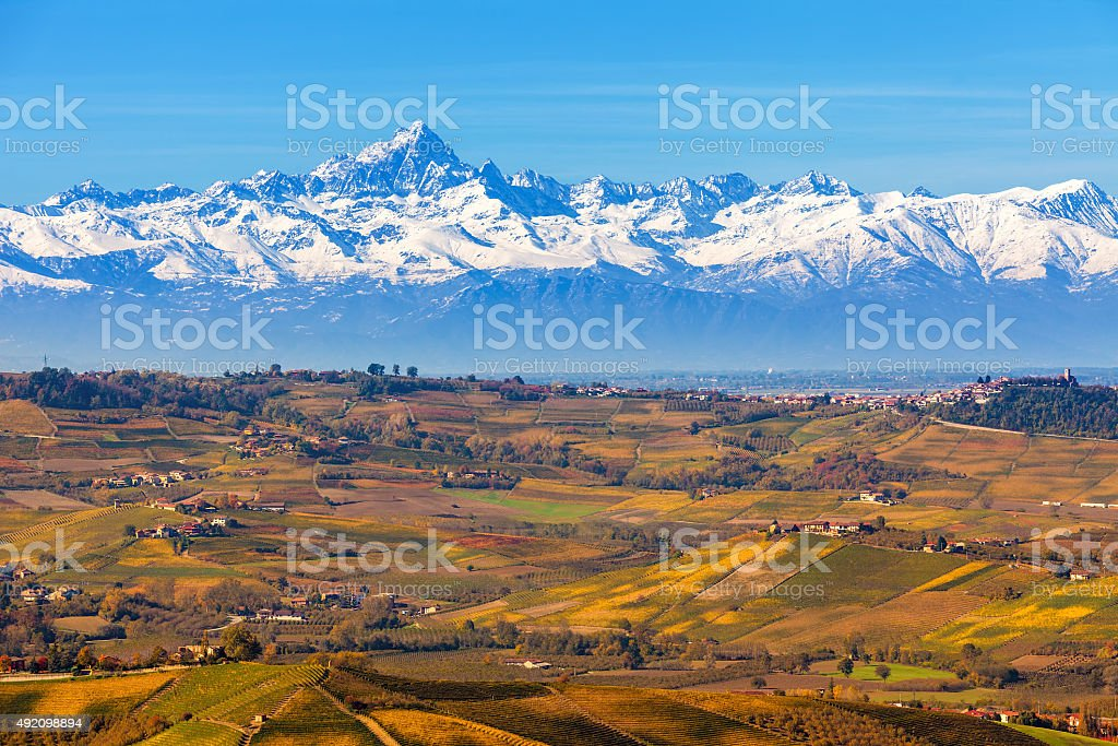 Autumnal hills and mountains in Italy. stock photo