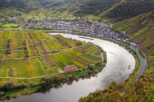 Autumnal Moselle and vinyards landscape at Bremm Calmont region Germany