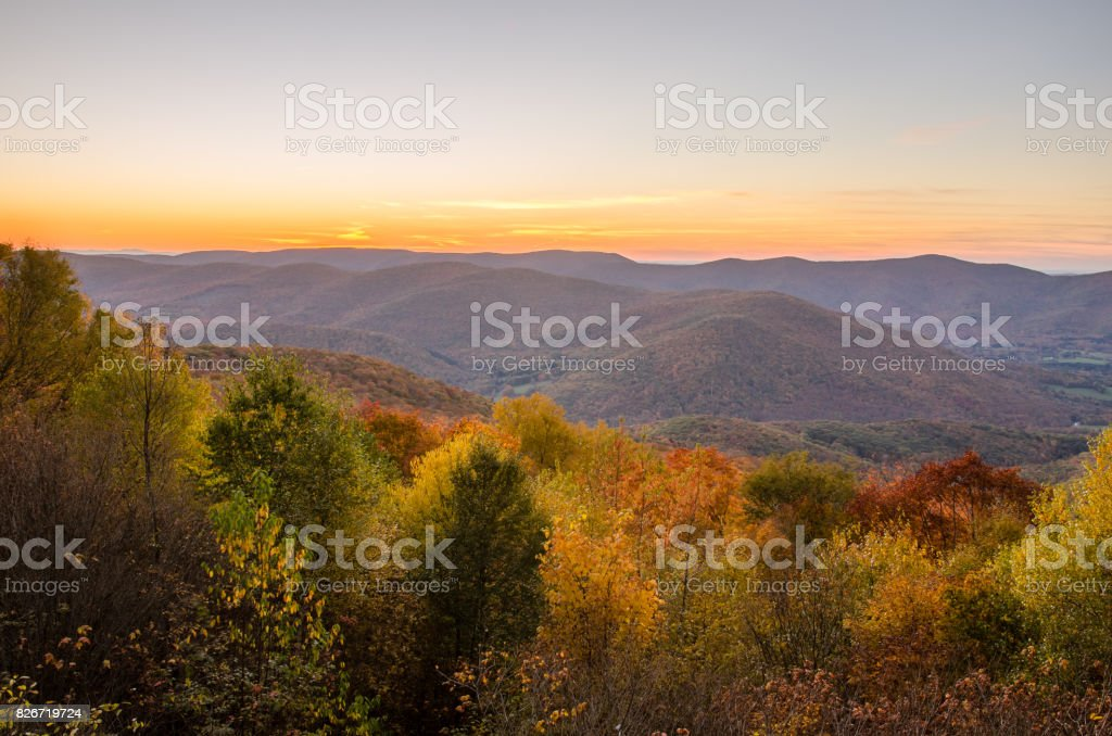 Autumnal Mountain Landscape at Sunset stock photo