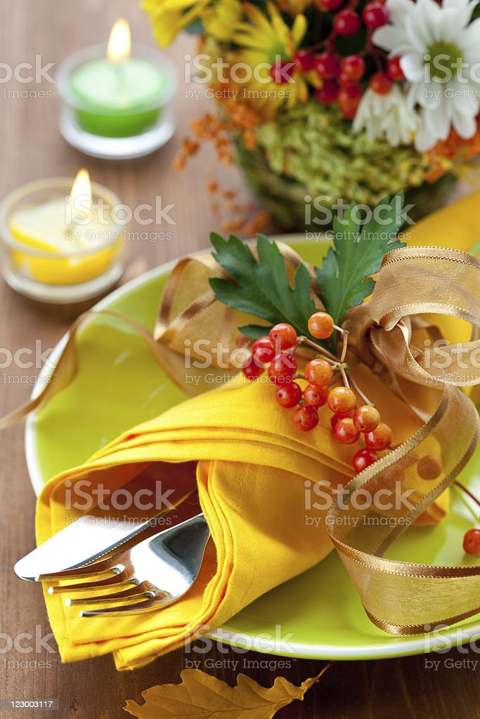 autumnal place setting royalty-free stock photo