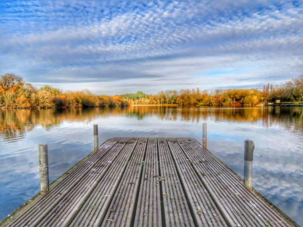 Autumnal Tongwell HDR A weathered wooden jetty over an autumnal Tongwell Lake in Milton Keynes, England. Beyond is a golden horizon of trees with a cloudy blue sky above. The lake surface is calm but reflective. buckinghamshire stock pictures, royalty-free photos & images