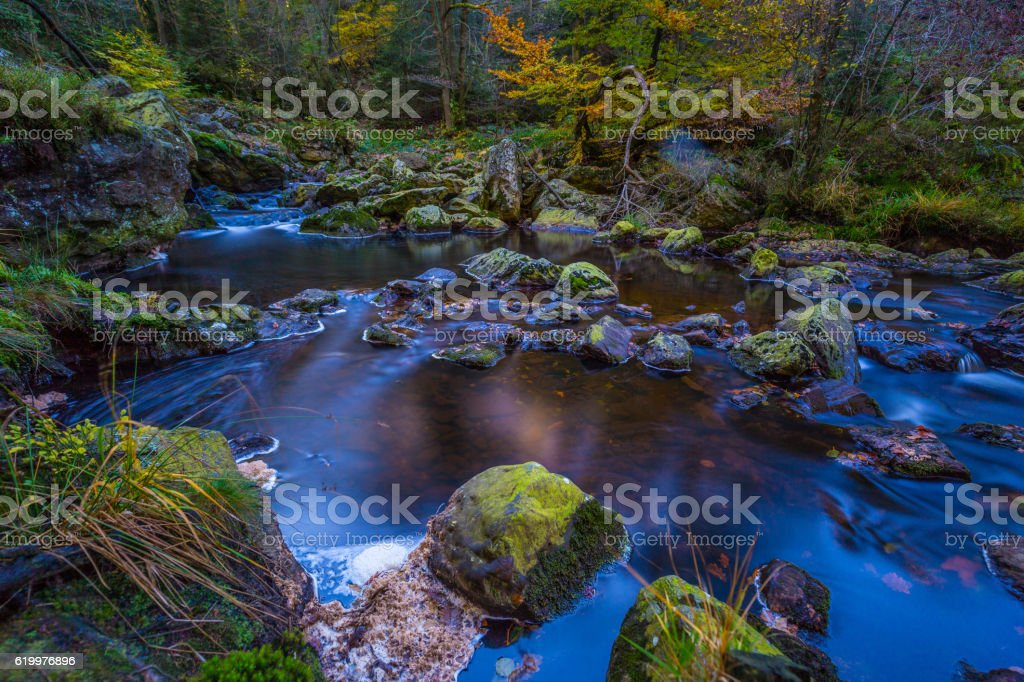 Autumnal torrents and small waterfalls in Hoegne Valley, Belgian Ardennes - Photo