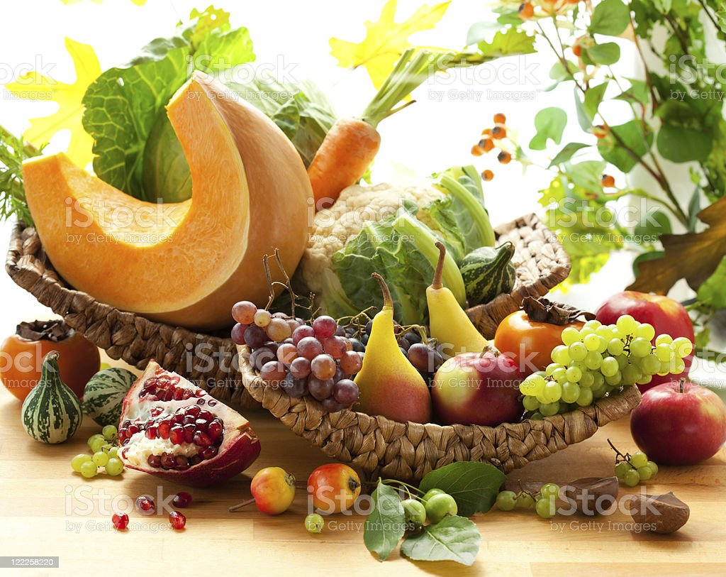 Autumnal vegetables and fruits stock photo