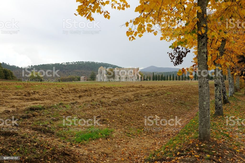 Autumnal view of The ancient Abbey of San Galgano near Chiusdino, Tuscany, Italy, example of romanesque architecture in Tuscany stock photo