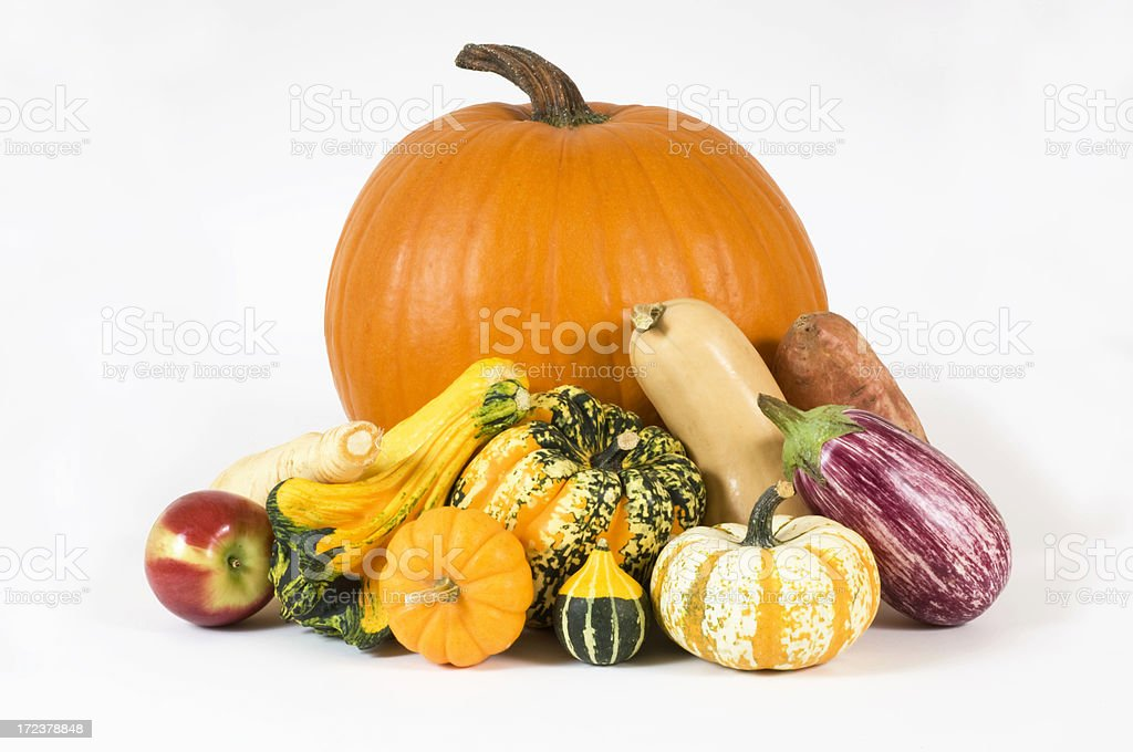 Autumns Bounty Centerpiece Pumpkins, Gourds,Squash,Apple,Eggplant,Yam royalty-free stock photo