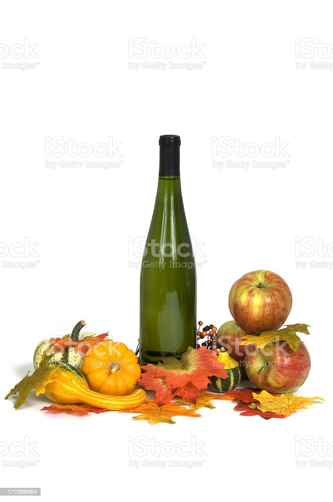 Autumns Harvest Apples, Leaves,Gourds and Wine Bottle Still Life royalty-free stock photo