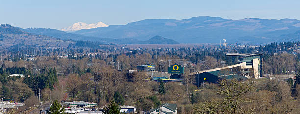 Autzen Stadium Wide View University of Oregon Three Sisters Mountains stock photo
