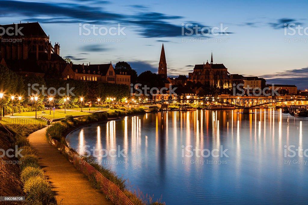 Auxerre along Yonne River stock photo