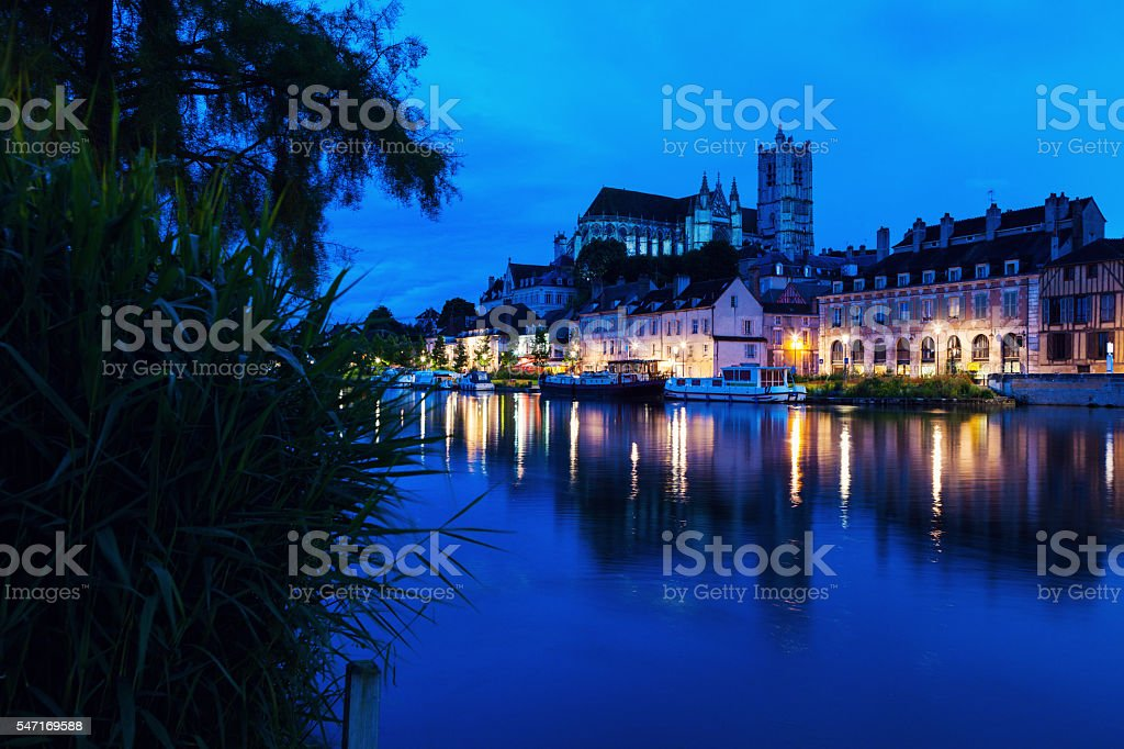 Auxerre Cathedral across Yonne River - Photo