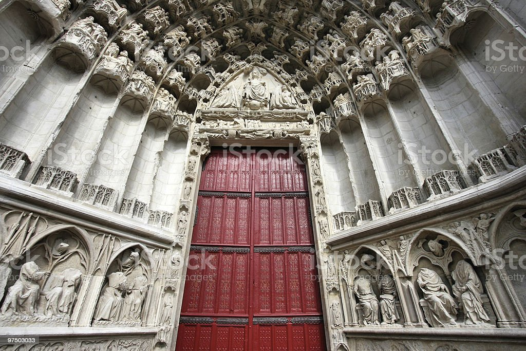 Auxerre cathedral door royalty-free stock photo